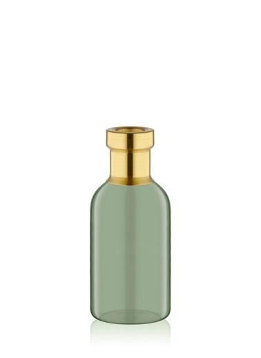 The Mia Cam Vazo Yeşil Gold Dekorlu 19*8 Cm Altın